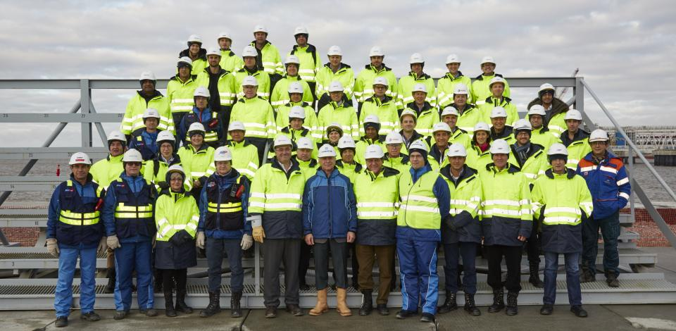 International investors invited by Patrick Pouyanné to Russia were welcomed by Total and Novatek as they visited Yamal LNG construction site in September, 2017.